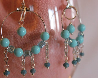 Crystal hoop earrings pendants and gemstone blue