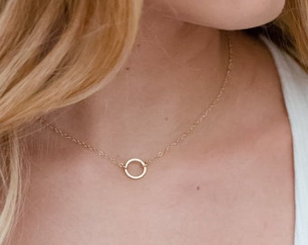 Gold Circle Necklace, Minimal Necklace, Open Circle Pendant,  Bridesmaid Gift, Dainty Necklace, Gift for her, Best Friend Gift