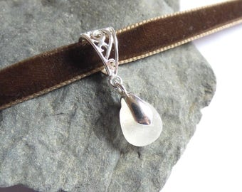 Sea Glass Choker, Brown Velvet, Seaglass Necklace, Sea Glass Jewelry, Seaglass Choker, Seaglass Jewellery, Sea Glass Pendant - KD17051