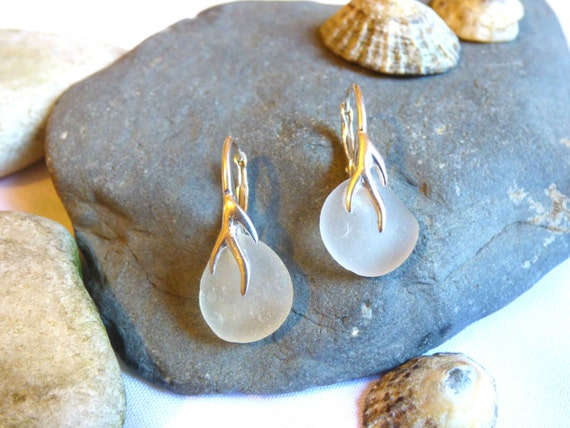 Sea Glass Sterling Silver Vine Earrings - white dainty wedding bride bridal beach beachglass seaglass formal occasion simple - ED16001