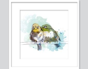 Watercolor two bird - fine art Giclée print -.