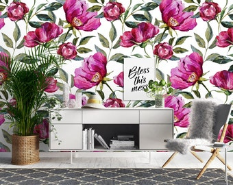 Peony Dream Wallpaper, Printed, Wall Decor, Removable Wallpaper, Watercolour