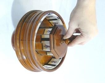 Wooden praxinoscope. Wooden toys - Kinetic art - Optic illusion - Animation - Handmade, artisan work