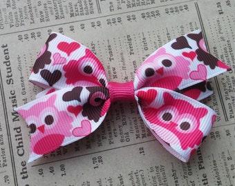 Cute Owl Hair Bow, heart hair bows, owl favors, cute hair bows, kawaii, loot bag