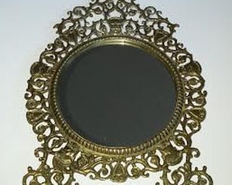 Decorative Antique Brass Mirror - Victorian - Chamber Mirror - Opulent -  Shabby Chic