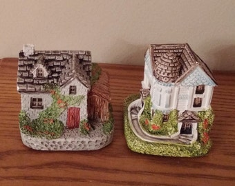 Cute Vintage Miniature Ceramic Houses 1993 RGA - Set of 2 - Ceramic Cottage Houses - Hand Painted Cottages