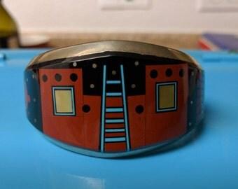 "American Indian Navajo Keevin Keyana inlaid silver cuff, pueblo night scene! 7 1/2"""