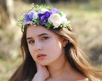 Lavender floral flower crown Flower headband Boho wedding Bridal headpiece Bridal flower crown Bohemian flower crown Flower hair wreath