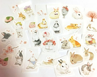 30 Pcs Rabbit Sticker, Bunny Watercolor Sticker Flakes, Pastel Rabbit Filofax Stickers, Spring stickers, Easter Bunny Stickers