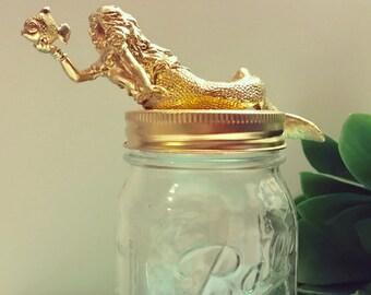Mermaid Decor, Gold Mermaid Mason Jar, Office Decor, Container, Home Decor