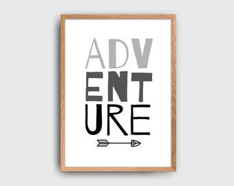 Adventure Children's Wall Decor Printable: INSTANT DOWNLOAND