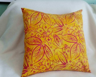 Yellow with Red Flowers Pillow Cover - Swappillow Covers - Envelope Closure - Decorative Cover- 16x16 - Throw Pillow - Home Decor