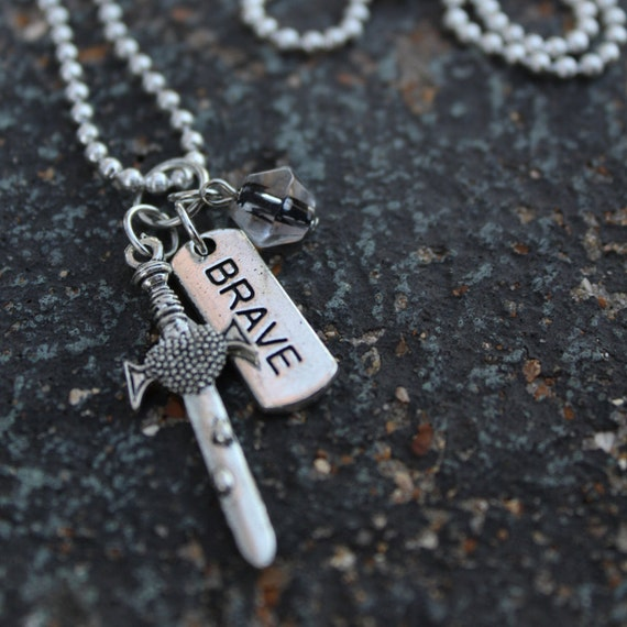 Be Brave - silver charm necklace