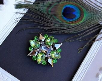 Green Crystal Brooch, Swarovski Crystal, Large Rhinestone Brooch, Peridot green Broach Vintage Style, August Birthstone, Handmade Jewelry
