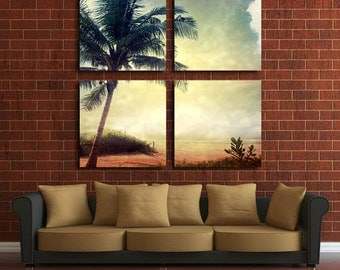 Large Wall Palm Tree Canvas Color Nature Multipanel Canvas Sunset Multipanel Canvas Art Large