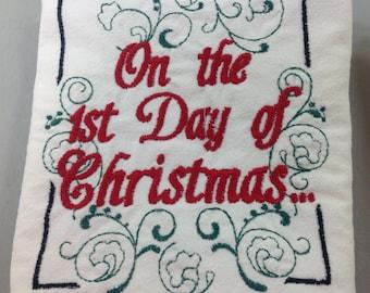 12 Days of Christmas flour sack dish towels