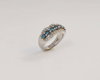 Sterling Silver 925 Designer Js Diamond And Blue Diamond Ring Size 5(00980)