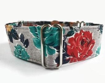 Martingale Dog Collar Garden Party Floral // Dog Lover Gift // Dog Accessories // Greyhound Collar // Sighthound Collar