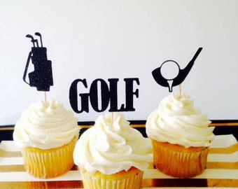 GOLF Cupcake Toppers (OR Party Picks) for your golf player's celebration in sparkling glitter!