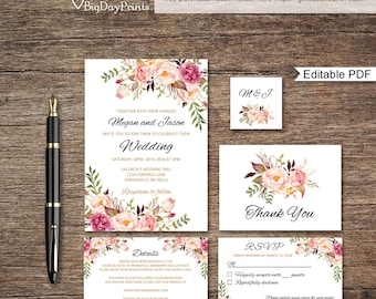 Boho Wedding Invitation Printable Floral Wedding Invite