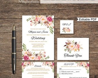 floral wedding invitation template boho chic wedding invitation suite wedding set a008a