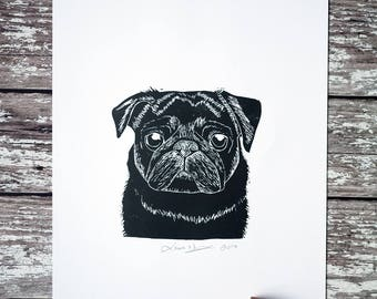 Black Pug Print A4 Lino Print Art Hand Printed Lino Print Pug Gift Dog Gift /// Cute Pug