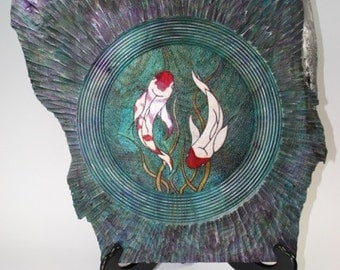 Woodturning and Carved Koi Wall Hanging