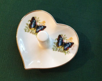 Vintage Heart Ring Holder with Butterflies