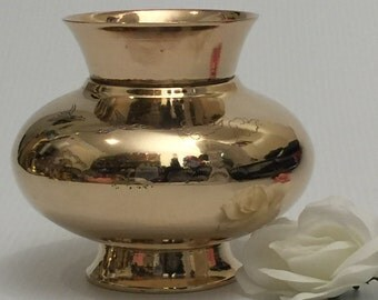 Lovely Round Gold Brass Planter-Mid Century Modern (MCM)