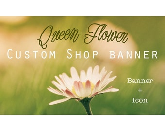 "Etsy Banner Set - Cover & Icon Shop ""Queen Flower"""