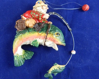 Vintage Santa Claus Fishing Wooden Ornaments Group #1 - 5 Different Ornaments  Buy Individually or Buy All 5
