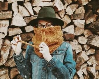Vegan-Chunky Cowl-Crochet Cowl Crochet Scarf: The Virginia Cowl in Mustard
