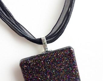 Resin - big black square with bright multicolored necklace