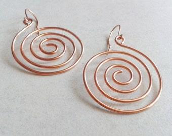 Copper earrings, hoop earrings, spiral earrings, natural copper, boho jewelry, earrings gipsy