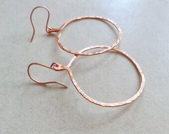 Copper earrings, hoop earrings, hammered copper, boho-Gypsy, trend for summer