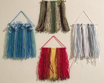 Set of 4: Earth Air Fire Water Elemental Yarn Wall Hangings