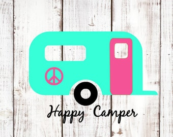 Happy Camper decal sticker / Yeti RTIC tumbler cup, laptop, car window, coffee mug, water bottle decal / RV Camping / Camping decal