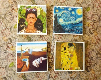 Art lovers tile coasters set of 2 or 4