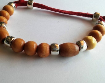 Wood bracelet with Red leather strap