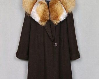 1950s wool coat with huge fox fur collar, brown swing coat, loose fit, silk satin lined