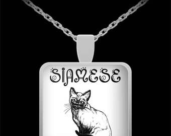 Siamese Cat Necklace - Cat Lovers Jewelry - Necklaces Are Fun Mother's Day, Father's Day, Birthday Gifts for Women, Men - 22in Chain Pendant
