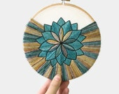 """The """"Cozy"""" Mandala - 6"""" Hand Dyed Yarn Embroidery Hoop Art in Earthy + Grey Blue Tones Hand Stitched by Creatiate Stitches"""