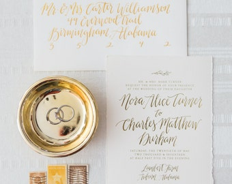 Gold Foil Wedding Invitation Suite with Custom Calligraphy