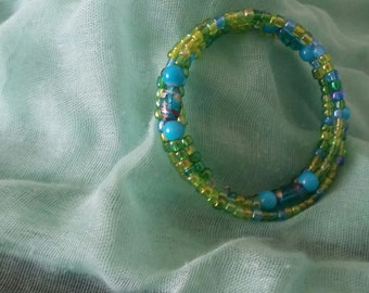 Beaded bracelet, Handmade bracelet, Handmade beaded bracelet, blue and green bracelet, bangle bracelet, beaded bangle bracelet, bracelet