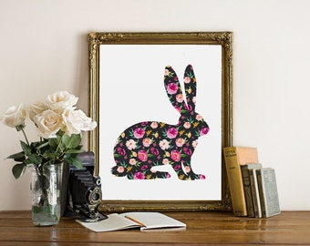 Floral rabbit art, floral hare wall print, rabbit art poster, bunny print, bunny wall decor, nursery decor, rabbit with floral pattern