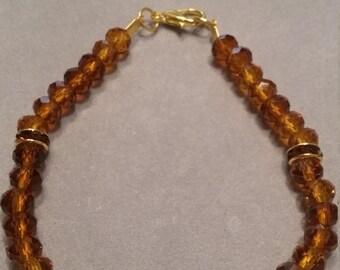 Amber Rhinestone & Glass Beaded Bracelet