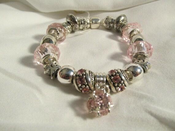 pandora like pink silver european charm bracelet