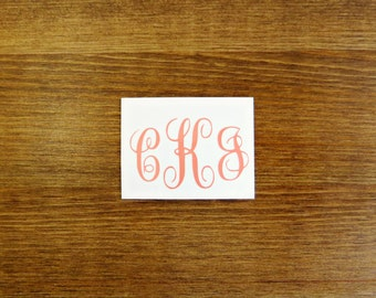 Initial Monogram Vinyl Decal // Choose Your Color, Size, and Initials