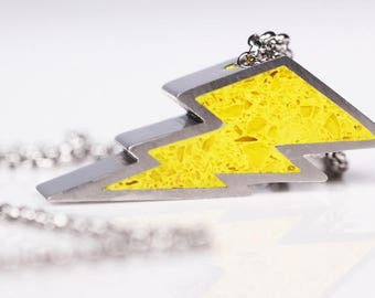 Yellow Lightning Bolt Pendant - Stainless Steel, Concrete, Glass pendant. Statement necklace. Lightning necklace.