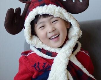 Kids Christmas Hat, Reindeer Hat, Reindeer Hooded Scarf